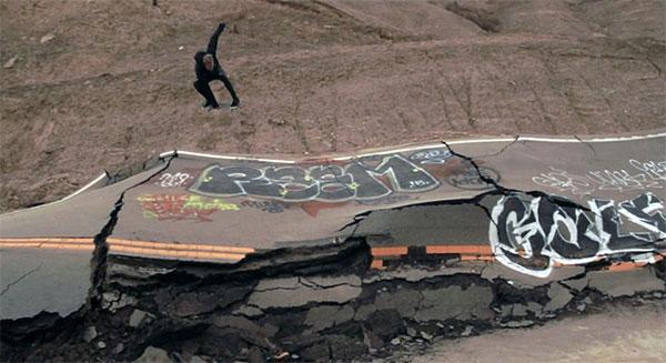 Destroyed highway turned skate park