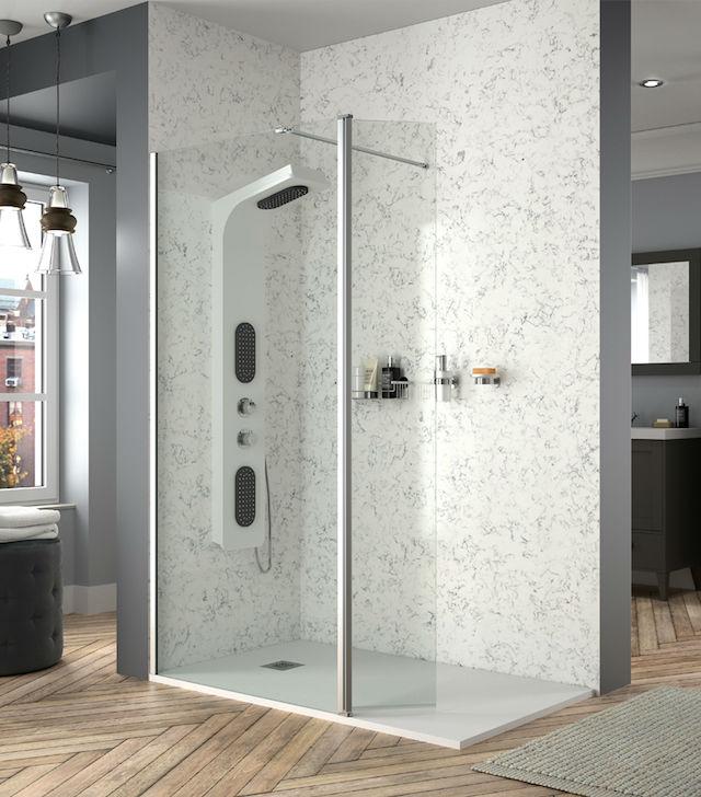 mampara de ducha con fijo y móvil