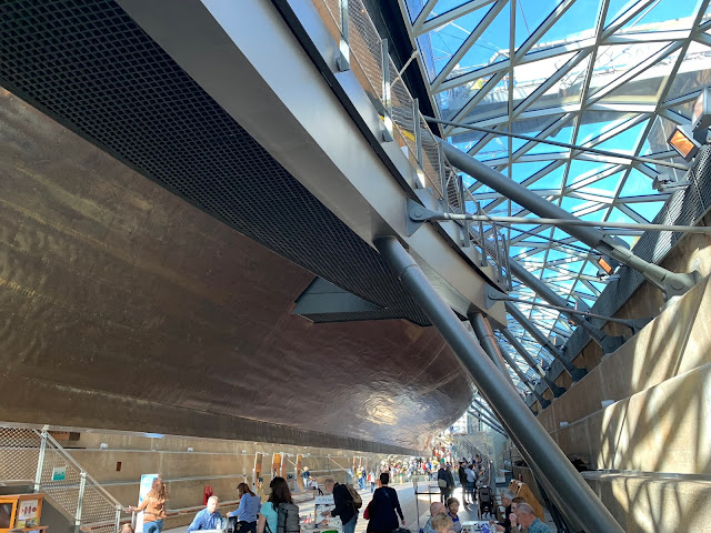 A view of the Dock underneath the Cutty Sark