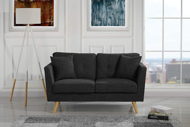 best black tufted love seat sofa for small living rooms