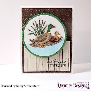 Divinity Designs Stamp Set: Best Dad Ever, Custom Dies: Scalloped Circles, Circles, Embossing Folder: Fish, Paper Collection: Weathered Wood
