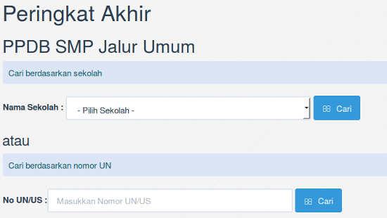 kolom pencarian data hasil akhir seleksi ppdb Surabaya 2015 jalur umum