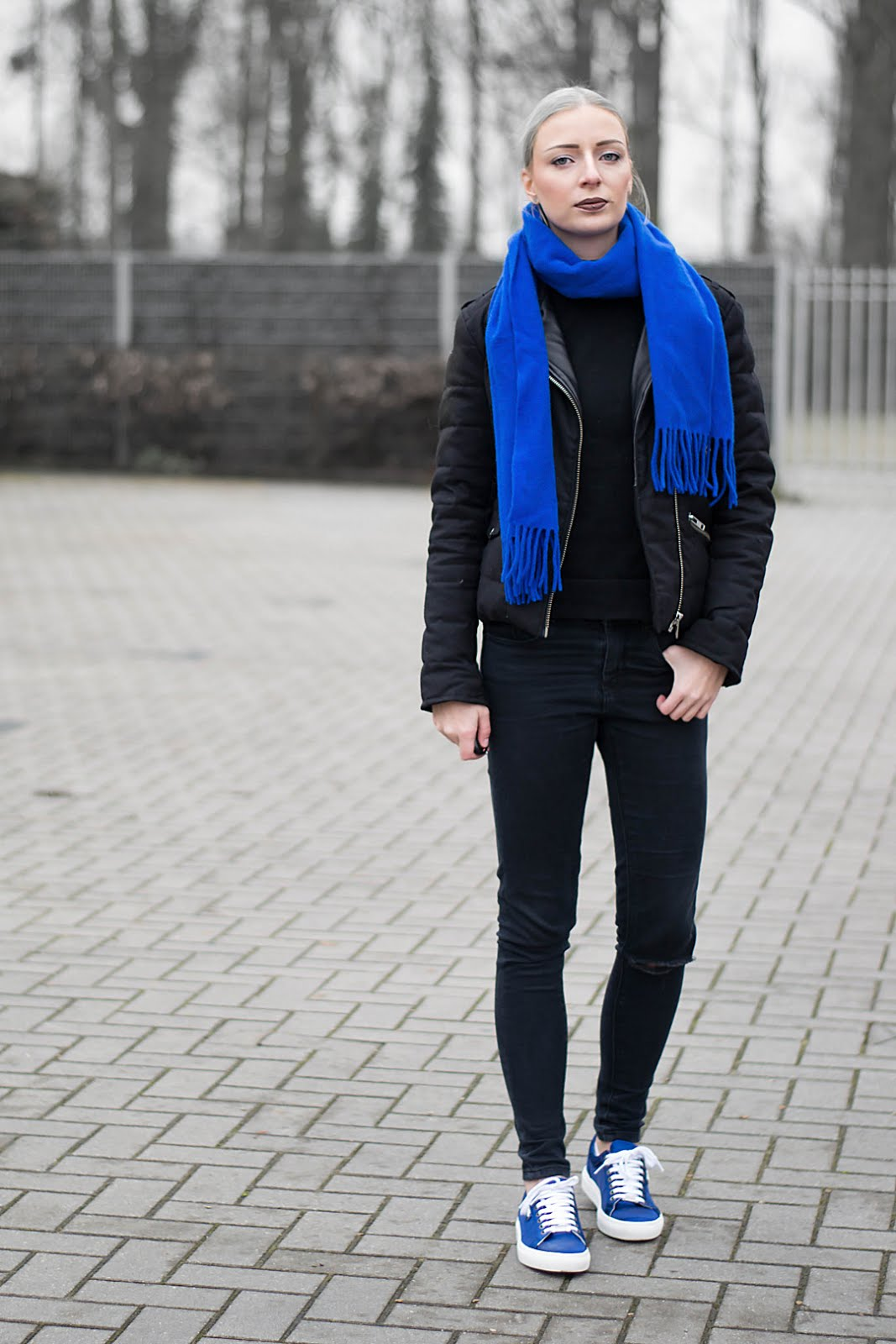Outfitpost, cobalt blue accessoiries. Wearing karl lagerfeld sneakers and the kooples jacket