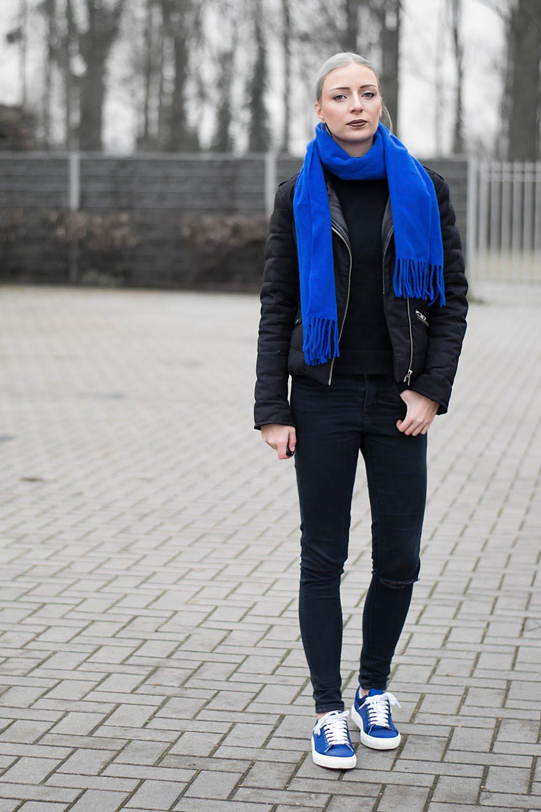 Outfitpost, cobalt blue accessoiries. Wearing karl lagerfeld sneakers and the kooples jacket