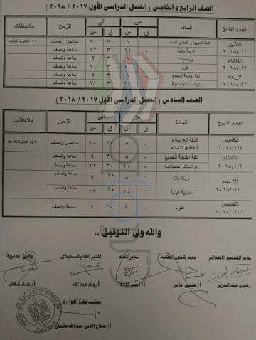 جدول امتحانات الصف الرابع و الخامس و السادس الابتدائي 2018 الترم الاول محافظة كفر الشيخ