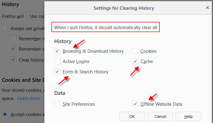 Firefox history clearing settings