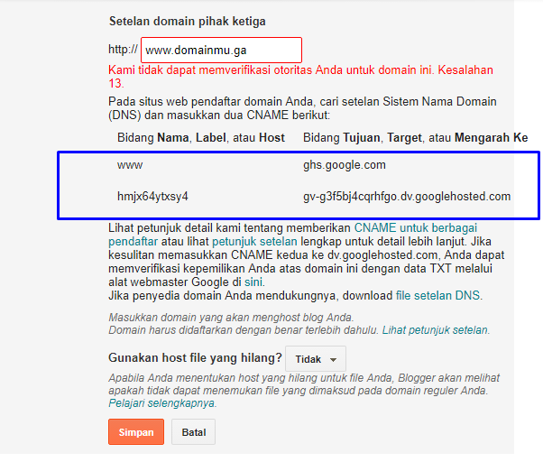 Setting Domain Freenom Ke Blogspot