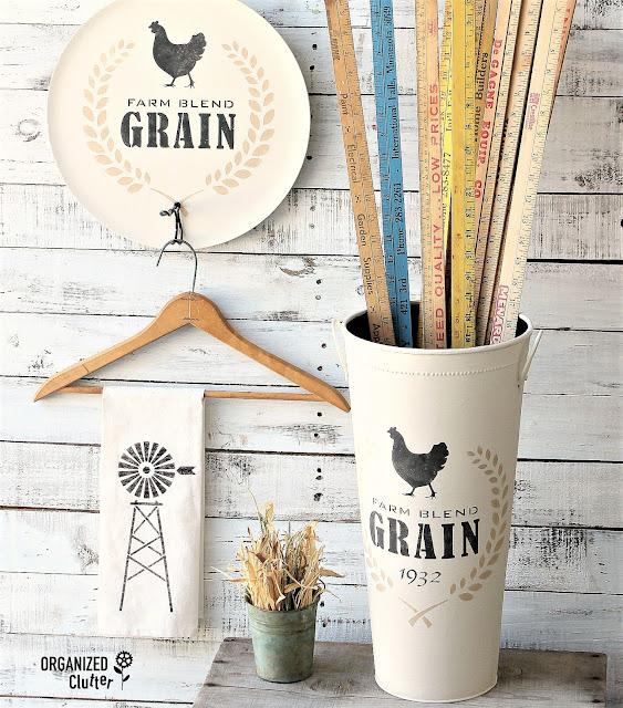 Fun Farmhouse Style Makeovers With Old Sign Stencils #Oldsignstencils #stencils #dixiebellepaint #thriftshopmakeover #garagesalefind #upcycle #farmhouse