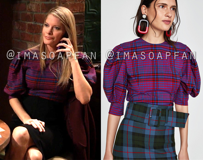 Nina Reeves, Michelle Stafford, Red and Blue Plaid Top with Puffed Sleeves, General Hospital, GH