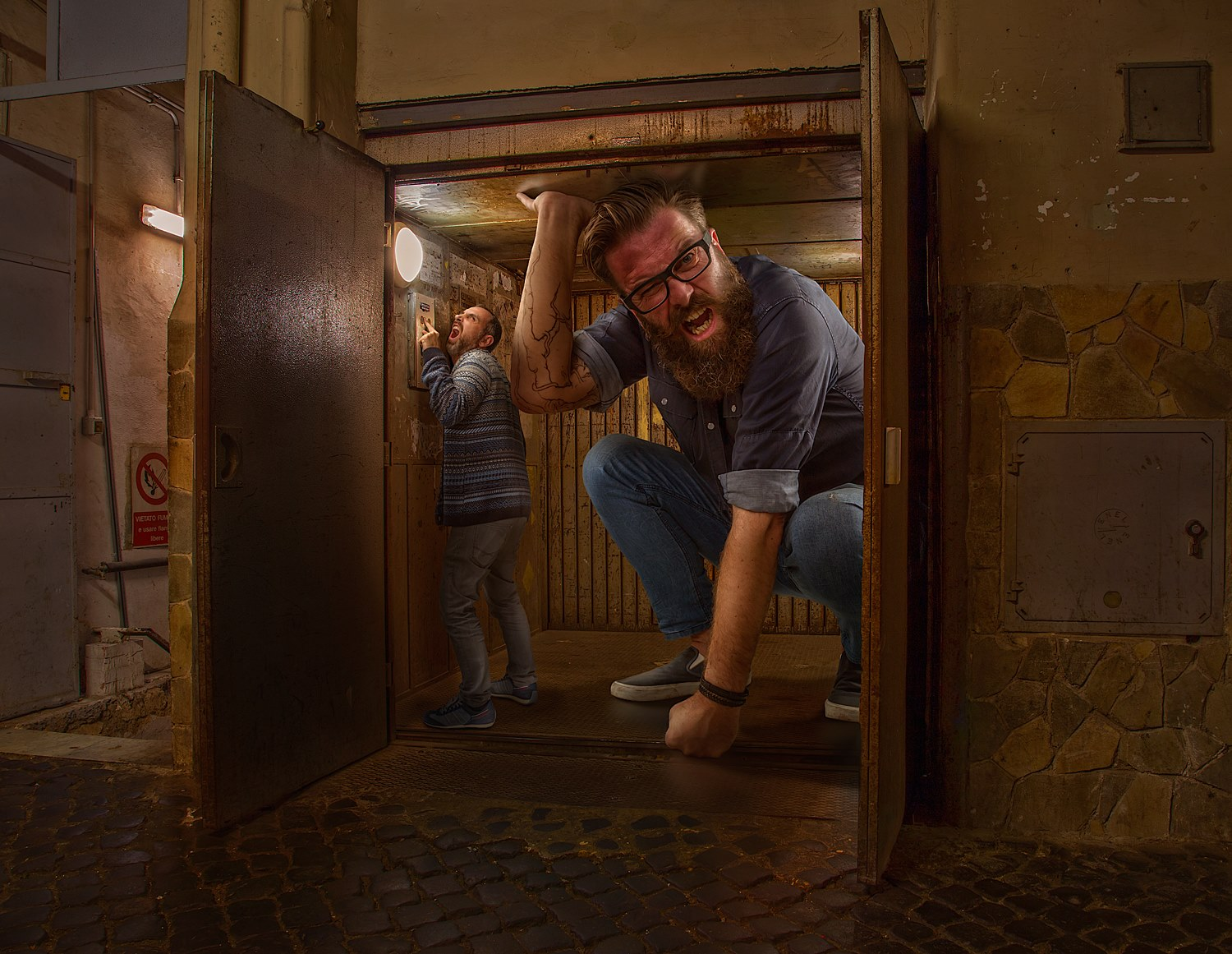 16-Troll-in-the-Lift-Adrian-Sommeling-Surreal-Photo-Manipulation-with-a-Son-s-Help-www-designstack-co