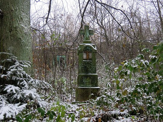 Przydrożny krzyż (z tyłu widać pozostałości starego domu w Jamnej).