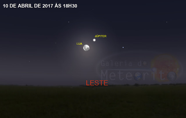 Lua e Júpiter no céu