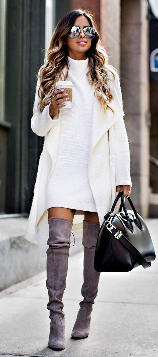 cool outfit / white coat + bag + dress + grey over knee boots