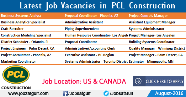 Latest Job Vacancies in PCL Construction - United States