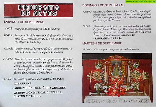 Programa Fiesta de Santa Rosalía de Palermo en Monte Breña, Villa de Mazo