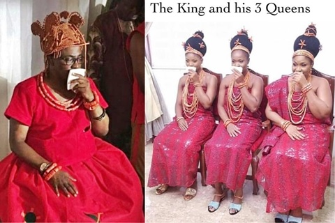 Happening Now: Prince Erediauwa Finally Crowned the 39th Oba of Benin - See His Beautiful 3 Wives (Photos)