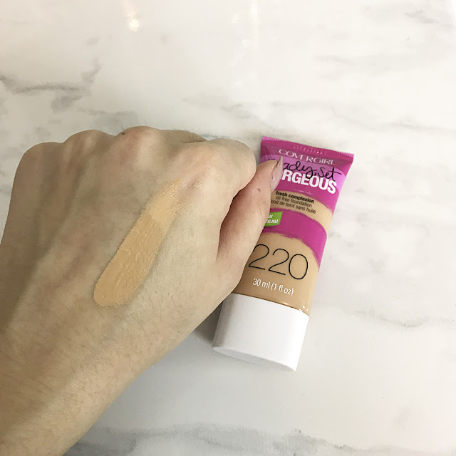 Covergirl ready set gorgeous foundation in 220 honey beige shade swatch