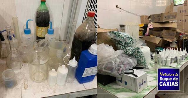 Polícia prende homem e estoura fabrica de produtos terapêuticos falsificados em Duque de Caxias