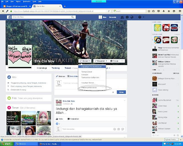 Cara Membatalkan atau menghapus  Pertemanan di Facebook