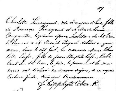 Charlotte Lunegand 1754 baptism record part 2