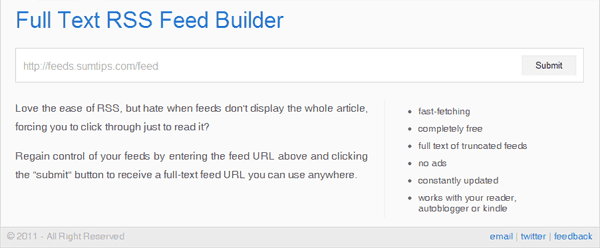 Full Text RSS Feed Builder