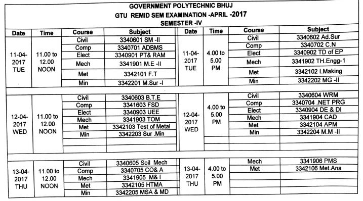 Remedial time table for 4 and 6 sem mining department for Gtu be 6th sem time table