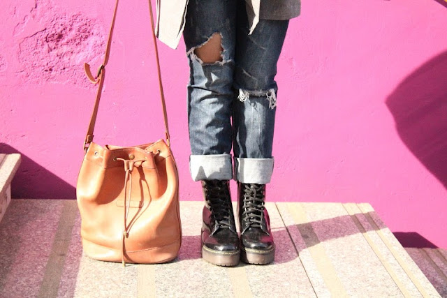 grey trench fashion blog tumblr girl bang orange hair zairadurso fashion's obsessions instagram dr martens wholesalebuying ripped jeans