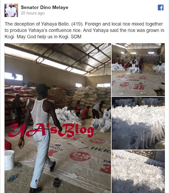 Gov. Bello Packaging Local & Foreign Rice, To Claim Retail Rice Production - Dino Melaye Share Photos