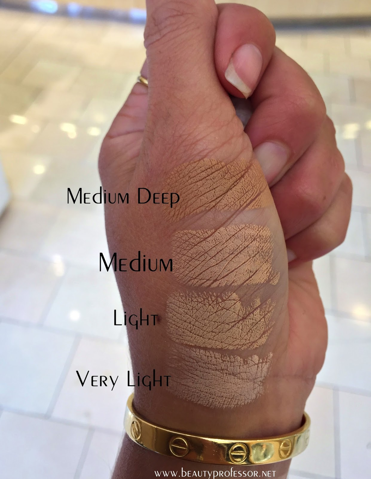 b582bba18867 Foundation Files  Swatches of All Shades of the New La Mer Soft ...