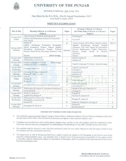 date sheet pu 2019 exams