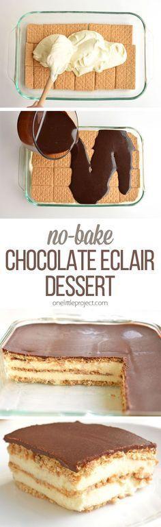 NO - BAKE CHOCOLATE ECLAIR CAKE