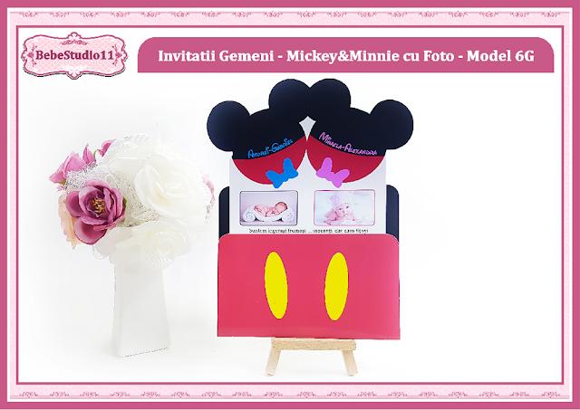 invitatii botez cu foto gemeni Mickey si Minnie