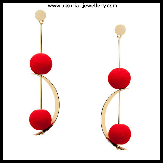 statement earrings, chandelier earrings, bauble earrings, red earrings