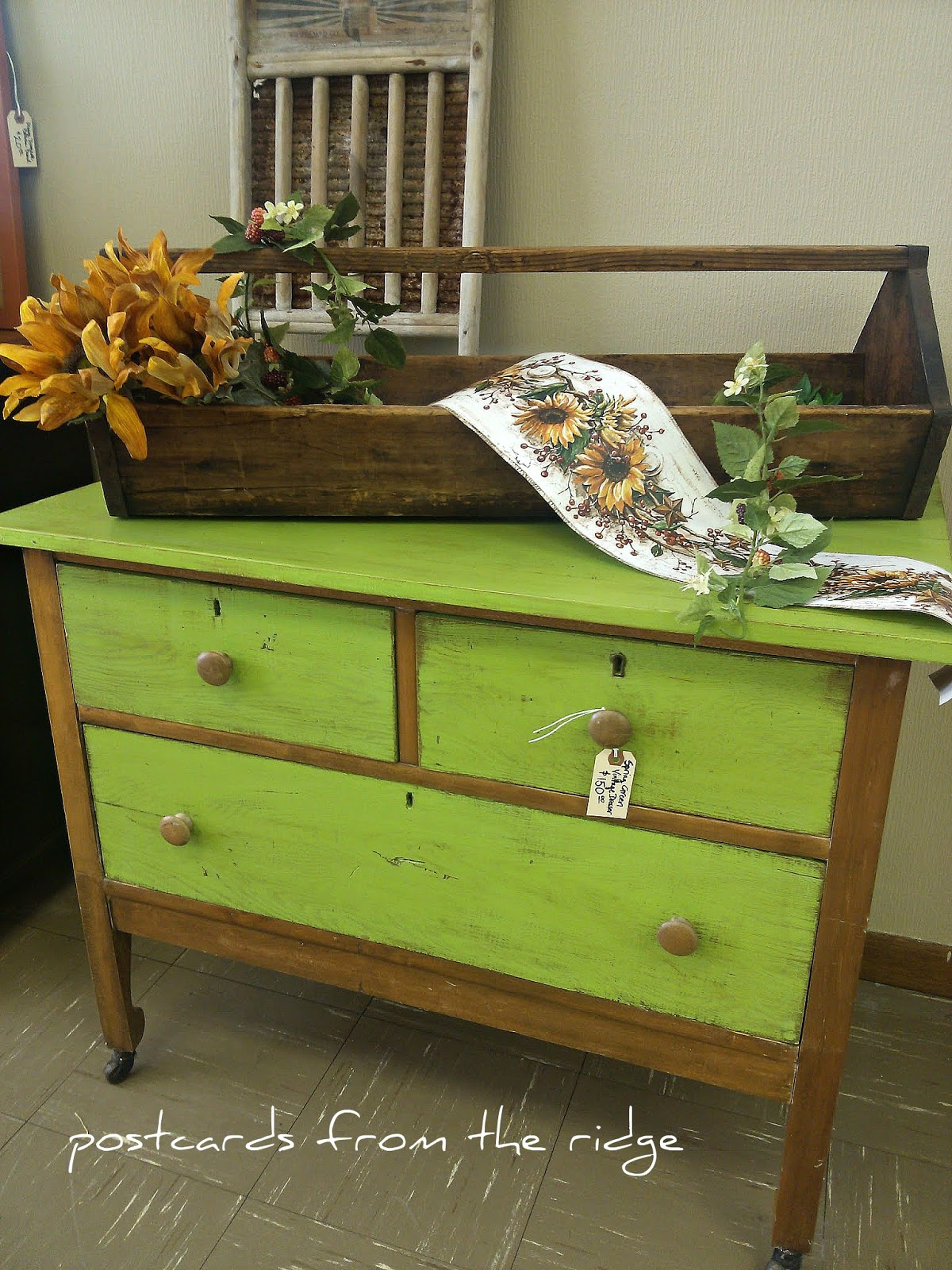 Spring Green Vintage Oak Dresser Postcards From The Ridge