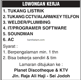 Lowongan Kerja Planet Discotheque and KTV
