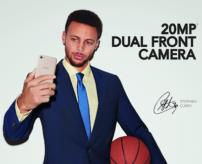 Source: Vivo. Professional basketball player Stephen Curry holds the Vivo V5s, which promises perfect selfies.