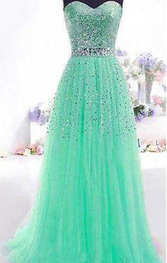 Vestido de formatura longo verde agua