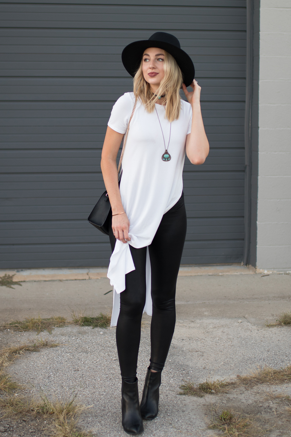Tunic tee with leather leggings