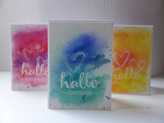 Geburtstagskarte Stampin Up, Sale-a-bration, Hallo, Watercolor Words, loewchenzimmer