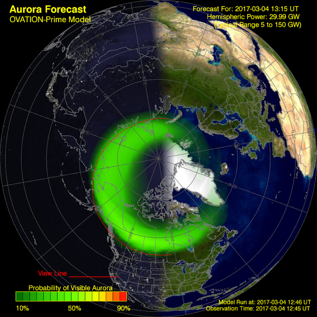 A solar wind travelling at over 700 km/s continues to bombard the Earth's magnetosphere Aurora-forecast-northern-hemisphere