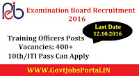 Professional Examination Board Recruitment 2016 for 400+ Training Officers Posts Apply Online Here