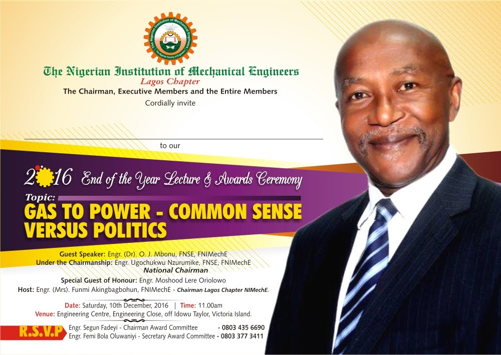Upcoming Lecture: Gas to Power- Commonsense versus Politics by Dr O. J. Mbonu