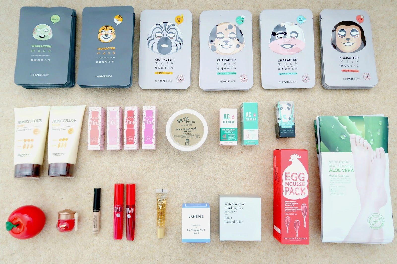 My Korean Beauty Haul 2017 review etude house, too cool for school, the face shop, nature republic, skinfood, laneige, tonymoly, thesaem