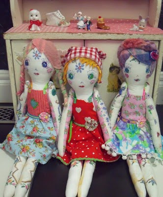 blossom n bird vintage fabric dolls