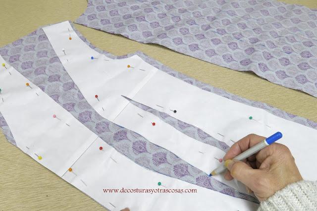 como marcar las pinzas sobre la tela