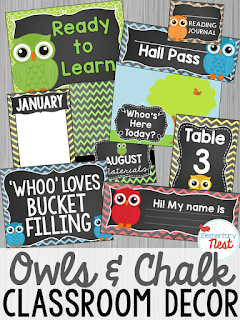 Chalkboard and Owls- Classroom Decor Collection to transform your classroom- pick a scheme or a theme to make your classroom decorated and organized