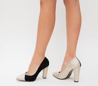 Pantofi de ocazii cu toc gros nergrii cu auriu eleganti frumosi