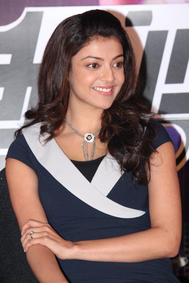 Kajal Aggarwal Smiling Photos In Blue Dress