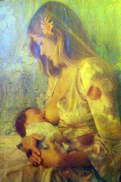 art, breastfeeding baby
