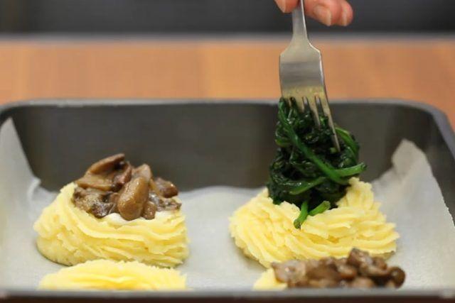 Cestini di purè: nidi di patate ripieni di funghi o spinaci  alessandra ruggeri